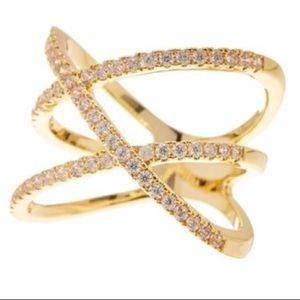 Nordstrom Double X Pave CZ Ring Gold 7 NWT
